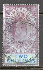 Gibraltar 1906-12 Edward VII 2 shillings purple & bright blue/blue SG 72 used