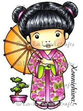 KIMONO MARCI-La-La Land Crafts Cling Rubber Stamp-Stamping Craft-Geisha-RETIRED