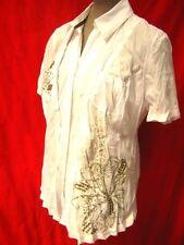 Bonita Designer White cotton mix embellished short sleeve shirt blouse 42 XL NEW