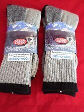 2 Pair Large Clear Creek 67% Merino Wool Heavy Hikers Sock 6-12 USA Black