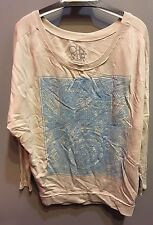 $91 NWT Chaser Brand Solid Tan With Blue Hamsa Graphic Sweatshirt Size XS