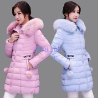 Women's Winter Thicken Fur Collar Hooded Long Duck Down Jackets Coat Parka Ycart