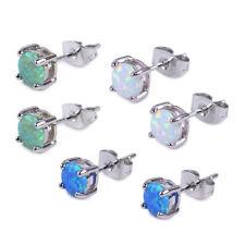 Damen Runden Opal Silber Ohrstecker Nagel Ohrring Elegante Modeschmuc Ohrschmuck