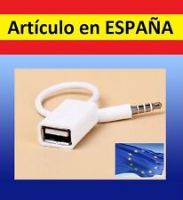 Cable adaptador jack 3.5mm macho & hembra USB coche salida aux radio audio 3,5mm
