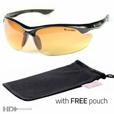 SPORT WRAP HD NIGHT DRIVING VISION SUNGLASSES BROWN HIGH DEFINITION GLASSES