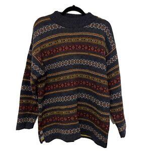 Harry Potter Knitted Patterned Wool Blend Winter Sweater Grandpa Jumper Sz Small