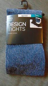 M&S 1Pr Design Tights Sparkle Opaque S M L XL Navy Mix or Berry Mix BNWT