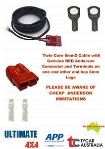 6m Twin Core 6mm2 Cable Genuine RED Anderson 8mm Lug Caravan, Camping, Fridge