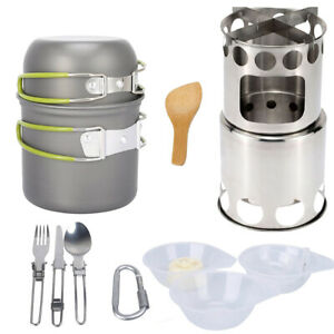 Camping Cookware Set Wood Burning Stove Outdoor Hiking Backpacking BBQ Cooking