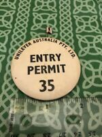 Unilever Australia Pty. Entry Permit 35 Pinback Button Cargo? FREE SHIPPING