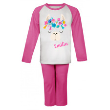 Personalised Llama Head and Name Pyjamas Girls Boys Gifts Cute Pjs Birthday