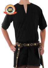MEDIEVAL VIKING NORSEMAN SAXON Mens Short Sleeve Black COTTON SHIRT TUNIC