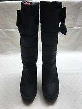 Kate Spade Cagney Black Boots 8 M Bow Quilted Winter Snow Nylon Platform Wedge