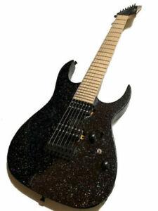 NEW CUSTOM 7 STRING BLACK METALLIC SPARKLE FINISH ELECTRIC GUITAR-AMAZING TONE