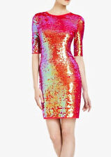 "$338 BCBG AZALEA COMBO ""MARTA"" SHORT SLEEVE SEQUIN DRESS NWT M"