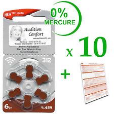 10 plaquettes de 6 piles pour appareil auditif RAYOVAC N° 312  (PR70) 0% mercure