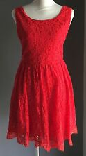 Gorgeous SHAREEN Red Lace Cut out Back Sleeveless Skater Dress Size 10
