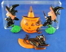 LOT OF 4 VINTAGE HALLOWEEN HARD PLASTIC CAKE TOPPERS #2