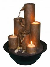 Tabletop Desk Water Fountain with 3-Candles Zen Home Decor Cascading Waterfall