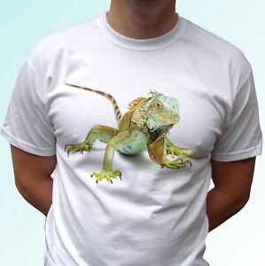 Green Iguana white t shirt animal tee lizard top - mens womens kids baby sizes