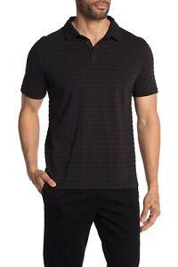 John Varvatos Star USA Men's Black Textured Stripe Short Sleeve Polo Shirt