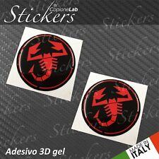 2 Adesivi Stickers Logo ABARTH Fiat BLACK & Red resinati 3D 50 mm auto