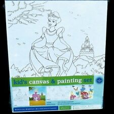 Cinderella Princess Fairies Kids Canvas Painting Set Paint Brushes Acrylic Paint