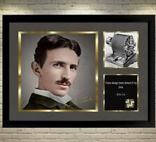 Nikola Tesla signed autograph photo picture With Frame