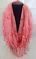 Lace Infinity Scarf Pink Lacey Loop Tear Drop Fringed