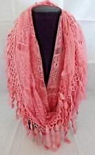 Infinity scarf pink lace loop tear drop fringed