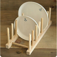 New Kitchen Bamboo Dinner Plates Holder Stand Rack Dish Drainer 7 plates Mount