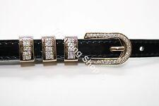 Diamante Stylish Ladies' Girls Women Thin Skinny Shiny Belt in Black