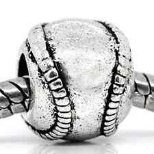 Baseball Softball Ball Sports Little League Spacer Charm for European Bracelets