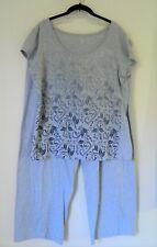 AMBRIELLE 2-Piece Pajama Set Print Top Drawstring Pants 20/XXL Gray *as is Stain