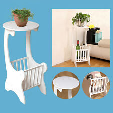 UK Round Coffee Table White Wooden Magazine Rack Sofa End Side Tea Lamp Stand