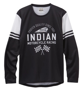 INDIAN MOTORCYCLE MENS BLACK RACING FLAG LONG SLEEVE T SHIRT IMC sizes L XL 2X