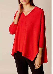 Karen Millen Red Fine Knit Poncho Boxy Neck Stretch Wool Jumper Top 10 38