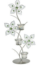 Freestanding Triple Tea Light Holder 53.5cm - Triple Flower Design