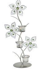 De Pie Triple té titular de la Luz 53,5 Cm-Triple Diseño De Flores
