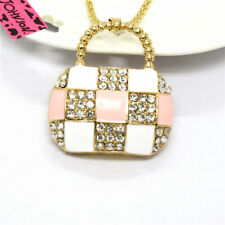 Crystal Pink Plaid Enamel Handbag Betsey Johnson Rhinestone Sweater Necklace
