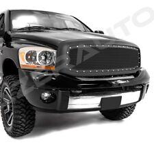 06-08 Dodge RAM Truck Paintable Matte Black Front Replacement Mesh Grille+Rivet