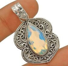 SALE 10CT Fire Opalite 925 Solid Genuine Sterling Silver Pendant Jewelry, ED16-7