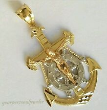 3 tone 14k Yellow white Gold Jesus Crucifix Anchor Pendant charm 1.75 inch