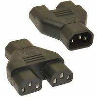 Power Mains 3 WAY splitter Y Split IEC c14 to 2 x C13 SOCKET ADAPTOR 10A BLACK