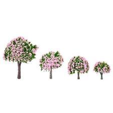 4Pcs Model Trees Train Layout Garden Scenery Flower Trees Diorama Miniature U3M8