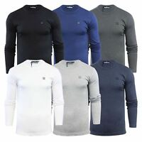 Mens T Shirt Duck & Cover Stock Cotton Comfort Stretch Crew Neck Long Sleeve Tee