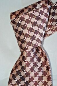"""$250 NWOT TOM FORD Peach w/ Burgundy check men's 3.9"""" woven silk tie Italy"""