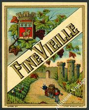 Vintage Dutch Alcohol Label: Old Liquor Lithograph FINE VIEILLE Wine est. 1900's