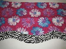 Waverly Bright Pink Black Zebra Animal Print Bold Gerbera Floral Valance New