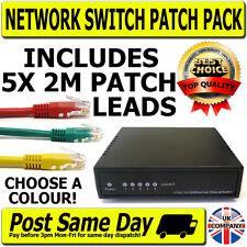 5 Way Port Data Switch & 5x 2M Patch Leads 10/100Mbps RJ45 Network Ethernet LAN